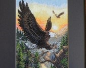 Eagles at Sunset Framed Cross Stitched Picture