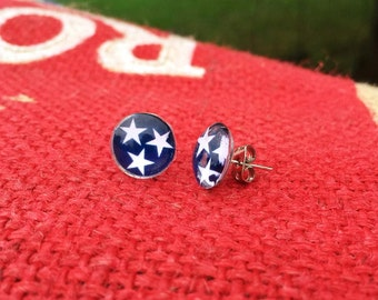 Tri-Star Tennessee State Flag post earrings