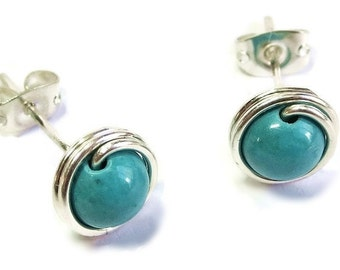Turquoise & Silver Wire-Wrapped Post Earrings