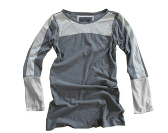 Gray top color block/long pull over/long sleeve shirt