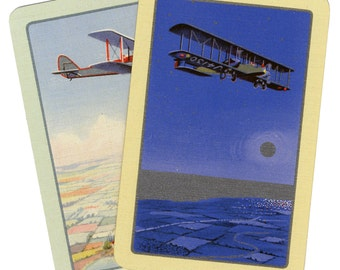 BIPLANE BEAUTY (2) Vintage Single Swap Playing Cards Paper Ephemera Scrapbook