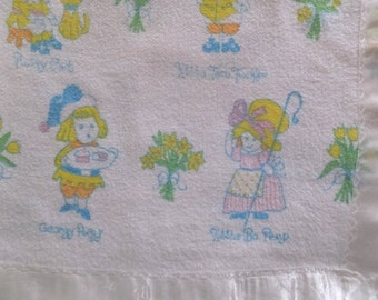 Vintage Babycakes Mother Goose Nursery Rhymes 100% Cotton Baby Blanket