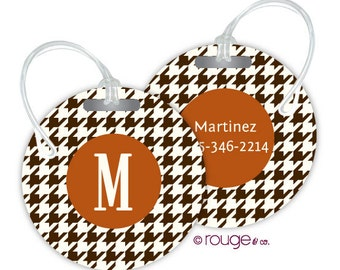HOUNDSTOOTH round luggage tags with custom monogram - set of 2