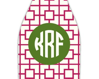 SQUARES REVERSE bottle beverage insulator - customizable pattern and monogram - zippered back for longnecks