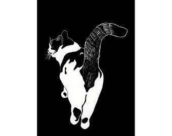 Cat Note Cards, Tails Up, kitty cat butt, pussy cat lover, friendship, greeting, sympathy, loss of pet, black and white, feline, chat, gato