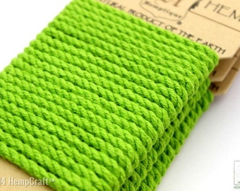 Lime Green Hemp Rope, 4mm Twisted Eco Friendly Colored Hemp Rope