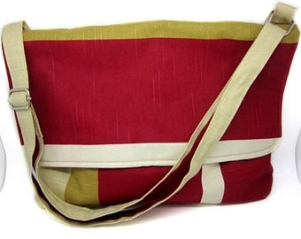 Red Mustard Cream Bag Cross body Strap Magnetic Snap Silver Slider Medium Striped