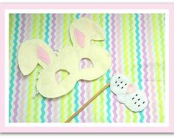 Bunny Rabbit mask nose face set Easter Photo Prop Felt set great for dress up