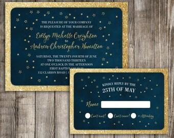 Starry Night Save The Date Milky Way Wedding Invitation