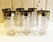 Vintage Silver and Clear Glass Kimiko Replacement Tumblers - Six Available - Mid-Century 1950s - Knights and Coats of Arms - Mad Men Barware