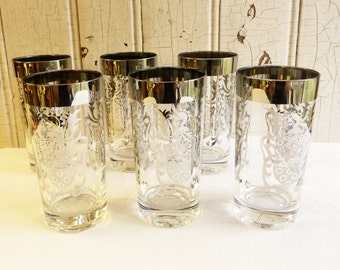 Vintage Kimiko Tumbler - Silver and Clear Replacement Glasses - Mid-Century 1950s - Knight - Coat of Arms - Six Available