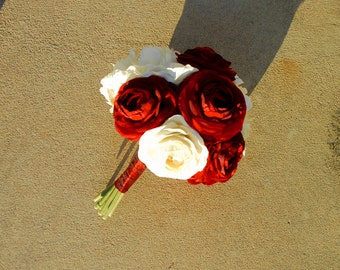 Small Red and Ivory White Silk Bouquet Made with Peonies and Ranunculus
