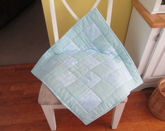 Pale Blue Green Flannel Crib Quilt