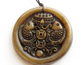 Xiuyan Stone Twin Rich Fish Coins Fortue Pendant 50mm*50mm  T3215