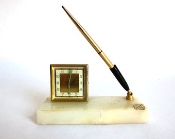 Antique Desk Clock and Pen Holder