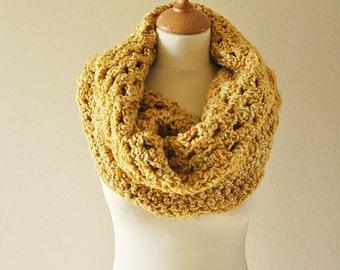 Gold Crochet Cowl - Chunky Yellow Crochet Hood