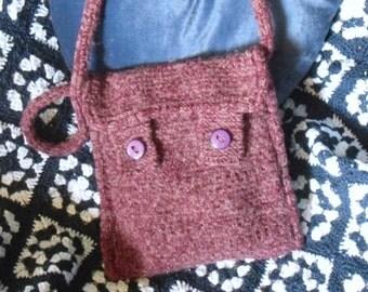 Purple Knitted Shoulder Bag, Hand Knitted Handbag, Free UK Shipping
