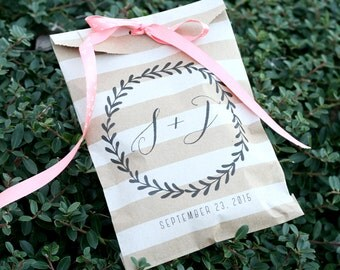 Wedding Favor Bag - Custom Printed - Personalized - Initials - Treat Bags - Candy Bags - 25 bags