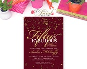 Ruby Confetti Surprise Birthday Invitation 60th 50th 40th 30th Fifty and Fabulous PRINTABLE red The Jewel Collection Glitter Glam