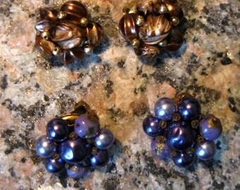 Two Pair 1950s Beaded Clip Earrings Marbled  Plastic