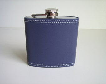 Periwinkle Leather Covered Flask
