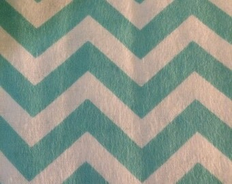 Turquoise and White Chevrons - FLANNEL - 1 yard