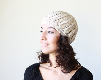 Beige crochet beanie for ladies, Winter cap, Beige crochet hat, crochet cap, winter accessories, Ladies crochet beanie