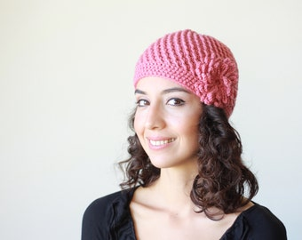 Rose pink crochet hat for women, Crochet beanie with flower, Women beanie hat, Women's crochet hats, Crochet beanie women