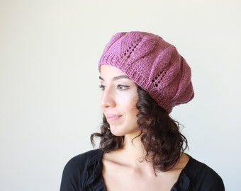 Rose Knit Hat for Women, Winter beanie hat for womens, Hand knitted tam hat women, Winter hats, Slouchy beanie hat for women