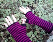 Black and magenta stripes, long fingerless gloves, womens or teens size small/medium, vegan