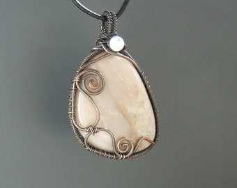 Moonstone necklace, rainbow moonstone necklace, peach moonstone jewelry, fertility jewelry, rustic copper necklace