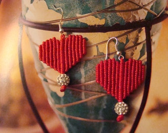 Red heart earrings, Purple heart earrings, Valentine's gift, Macrame jewelry, Shamballa jewelry, Gift for her, Handwoven jewelry.