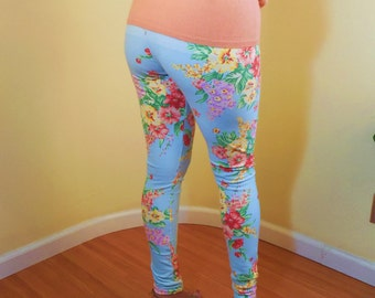 Vintage Reproduction Print French Terry Lycra Leggings pants