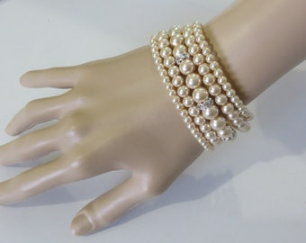 Pearl Bracelet Bridal - Swarovski pearls and rhinestone / Weddings Rinestone, Bridal Bracelet  ,Crystal,pearl