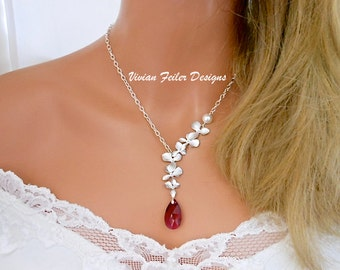 Red Necklace Orchid Wedding Jewelry Ruby Red Necklace Pearl Bridal Bridesmaid Necklaces Prom Jewelry Maid of Honor