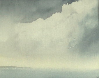 Original watercolour painting storm brewing ocean and sailing