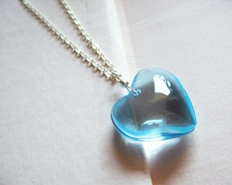 Frozen heart - clear blue glass heart necklace