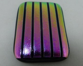 Fused Glass Magnet with Dazzling Pink and Gold Dichroic glass