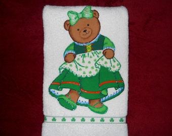 St Patricks Day Hand Towel Bathroom or Kitchen Irish Jig Dancing Bear