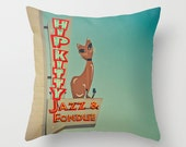 READY TO SHIP - Hip Kitty Jazz Club Pillow Case - Mid Century Modern - Neon Sign - Blue Red - Travel Trailer Decor - 16x16, 18x18 or 20x20