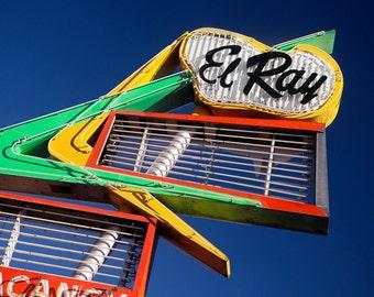 El Ray Motel Sign - Neon Sign - Mid Century Modern Art - Retro Wall Art - Reno Nevada - Green and Yellow Decor - Fine Art Photography