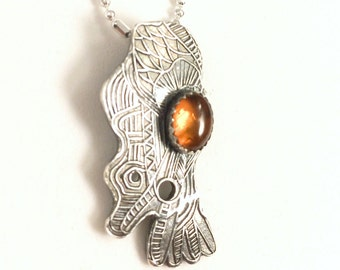 Silver Aztec amber pendant, Amber abstract silver pendant, Golden honey Amber tribal silver necklace, Amber jewelry
