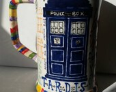Hand painted Whovian Stein with 50th anniversary quotes