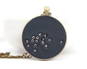 Aquarius Constellation necklace,  zodiac jewelry, brass pendant, polymer clay