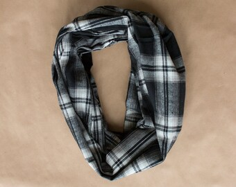 CLEARANCE - Cotton Infinity Scarf - Black White Taupe Plaid - Brushed woven cotton flannel - ready to ship