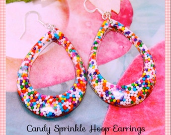 Candy Sprinkle Earrings, Hoop Earrings, I Want Real Candy Sprinkles Loop Dangle Resin Earrings, Kawaii, Scene , By: Tranquilityy