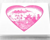 Valentine's Day Pink Willow Heart Set of Ten Cards and Envelopes A2