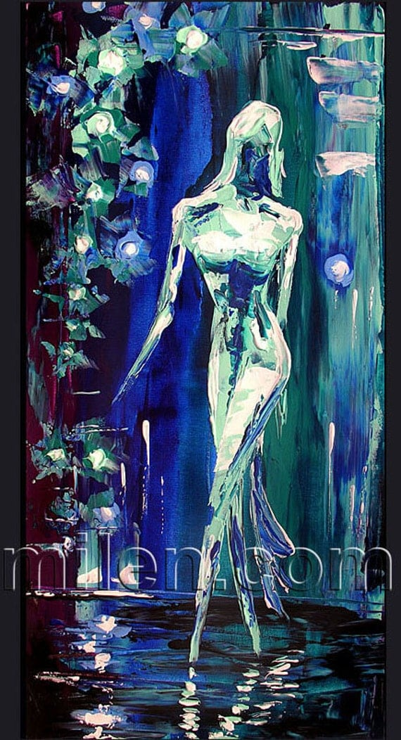 PRINT Giclee from original painting modern contemporary Art Blue Fashion Show Model Modern Abstract painting ready to hang office by MILEN