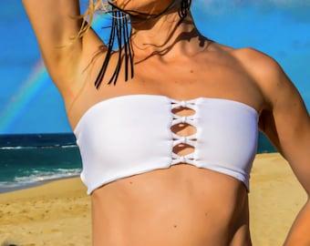 INDIE ATTIRE - Reversible Bandeau Bikini Top - White