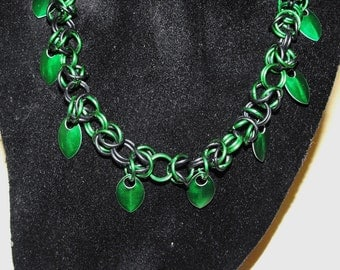 Green and Black Anodized Aluminum Byzantine-style Chainmail Necklace Scales